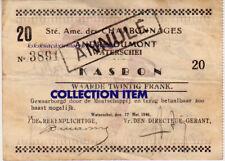 k kasbon 1940 Waterschei André Dumont kolenmijn munt penning mijnwerkerslamp