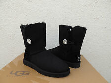UGG SWAROVSKI BAILEY BUTTON BLING BLACK SUEDE/ SHEEPSKIN BOOTS, US 9/ EUR 40~NIB