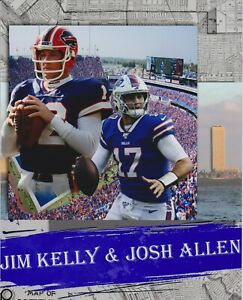 Josh Allen Jim Kelly Composite Custom 8x10 photo Buffalo Bills