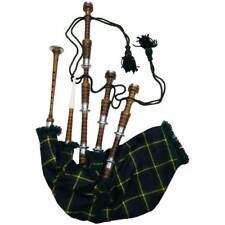 Scottish Highland Bagpipe Natural Silver Mount Dudelsack Gaita Carrying Bag Free