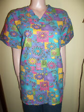 RMF SCRUBS FLORAL AND HEARTS SCRUB TOP VALENTINES XL NEW