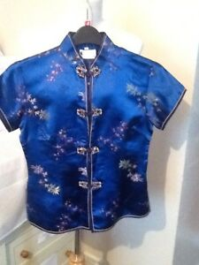John Lie 2006 Vintage Flower Blue Silk Chinese Oriental Print Blouse Top Siz 40