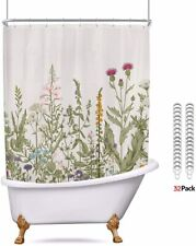 Riyidecor Waffle Clawfoot Tub Shower Curtain Set 180x70 Inch All Wrap Around Shower Curtain Polyester Bathroom Decor Fabric Panel Extra Wide 32-Pack Metal Shower Hooks Without Magnets
