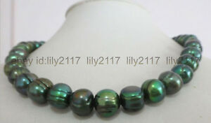 18 inches huge 11-12mm tahitian natural baroque peacock green pearl necklace AAA
