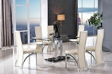 Roma 150cm Modern Steel & Glass Dining Table and 6 Faux Leather Ivory Chairs