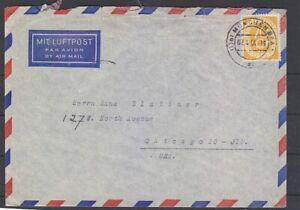 Bund 136 EF ex 123/38 auf Luftpostbrief USA 02.04.54 (B-5408)