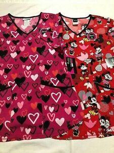 Valentine's Scrub V Neck Disney Top - You Pick - Nurse Medical Dental Veterinary