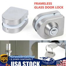 Frameless 10-12mm Single Open Glass Door Lock Latch Bolt w/ 3Keys Double Door