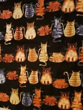 Fabric for Sewing Craft Quilt Mask SCRAP CATS BACK KITTY BLACK Pets 9X21 Cotton