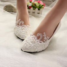 High Quality White Ivory Lace Pearl Wedding Shoes Bridal Bridesmades Flats Low High Heel  Pump
