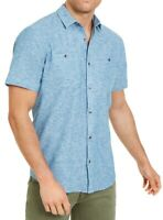 INC Mens Shirt Blue Size 2XL Ricky Short Sleeve Button Down Regular Fit $49 #013