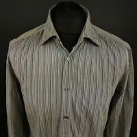 HUGO BOSS Mens Shirt LARGE Long Sleeve Grey SLIM FIT Striped Cotton