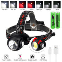COB LED Headlight Outdoor Camping Fishing Headlamp USB Rechargeable Waterproof