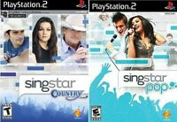 2 New Factory Sealed - PS2 SINGSTAR Games - POP and COUNTRY - Free US Shipping