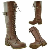 Womens Lace Up Combat Knee High Boots w/ Buckle Straps Brown Size 5.5-10