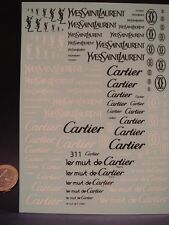 "DECALS 1/43-1/32-1/24-1/18 LOGOS "" YVES SAINT LAURENT "" - "" CARTIER "" -  T311"