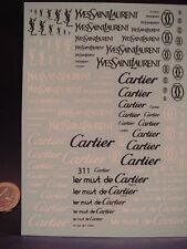 "DECALS 1/43-1/32-1/24-1/18 LOGOS "" YVES SAINT LAURENT "" - "" CARTIER "" -  T311"