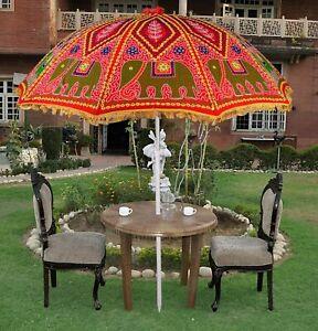 Indian Handmade Boho Garden Umbrella Parasol Iron Pole Embroidery Print Brolly