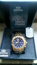 FESTINA  Herren Uhr F20356/3  Stahl Chronograph Sport Gold/Blau UF20356/3