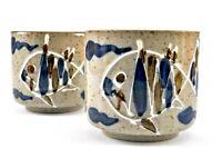 2 Vintage MCI Japan Embossed Fish Stoneware Cups Mugs Japanese Pottery Teacup