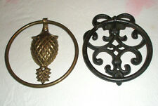 Lot 2 Vintage Door Knockers Cast Iron Brass Plated