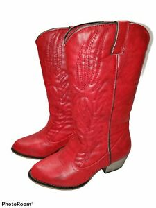 DailyShoes Women 5.5 Embroidered Legend Pointy Toe Pull Mid Calf Western Boot