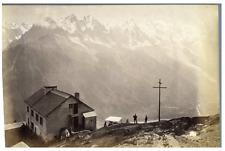 France, vue de montagnes Vintage albumen print.  Tirage albuminé  10x16