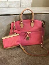 $250 Dooney & Bourke Double Pocket Satchel Bubble Gum Pink Pebble Leather/ POUCH