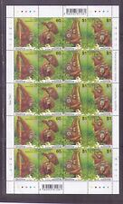 Singapore 2001 , ape Orang Utan, Full sheet of 5 sets