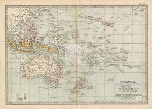 VINTAGE Map of Oceanica - 1902 Encyclopedia Britannica #F359
