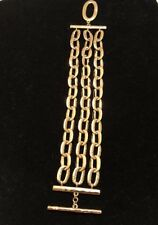 Gold Plated Nadri Runway Triple Chain Link Bracelet Toggle Clasp