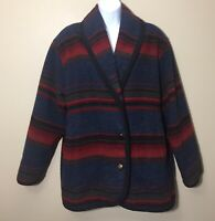 Vintage Woolrich Womens Blue Red Striped Wool Button Front Jacket Coat USA M