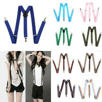 Unisex Elastic Y-Back Suspenders Braces Mens Womens Adjustable Clip on Hard