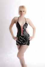 SEXY PVC WETLOOK HALTER NECK OPEN BACK LACE UP BLACK MICRO MINI DRESS