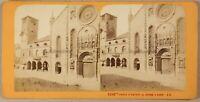 Italia Cattedrale Da Como Foto Stereo Jean Andrieu Vintage Albumina Ca 1868