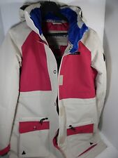 Hot Pink and Light Tan Cream Beige Liquid Ski Jacket New With Tags