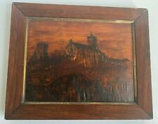 Antique Wartburg Castle Germany Engraved Wood Portrait Folk Art 1914 Framed
