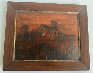 Antique Wartburg Castle Germany Engraved Wood Portrait Folk Art 1914 Framed