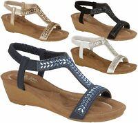 Ladies Sandals Low Wedge Diamante Summer Womens Wedding Fancy Shoes