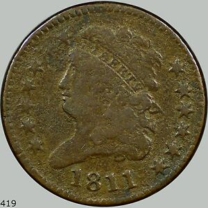 1811 Classic Head 1/2C, Key date! F/VF details coin