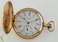 Waltham Full Hunter 14k Yellow Gold Pocket Watch 15J Size 6S Seaside 1900