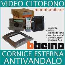 KIT VIDEOCITOFONO BTICINO CON MONITOR A COLORI E CORNICE ANTIVANDALO IN METALLO