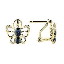 NATURAL FINE 14K YELLOW GOLD DIAMOND BLUE SAPPHIRE BUTTERFLY EARRINGS