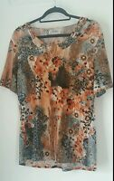 womens t shirt size large short sleeve scoop neck floral stretch top chic orange
