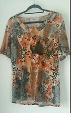 Ladies Top Size Large Woman Blouse Top Casual Multi Colourful Loose Fit Shirt