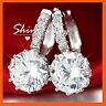 9K WHITE GOLD GF SOLITARIE SIMULATED DIAMOND WEDDING HOOP HUGGIES SOLID EARRINGS