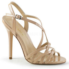 "Sexy AMU13/ND 5"" Heel Ankle Strap Strappy Tan Sandals Women's Shoes LARGE SIZES"