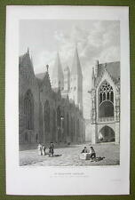 GERMANY Brunswick St. Martin's Church - 1820s Copper Engraving by Cpt. Batty