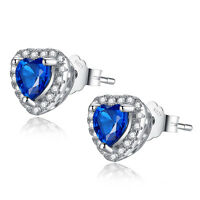 Heart Cut Created Blue Sapphire 925 Sterling Silver Stud Earrings Gifts for Her