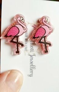 Flamingo Stud Earrings - light pink sparkly resin